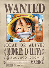 **License Poster** One Piece Straw Hat Pirates Luffy Wanted Wallscroll #5387
