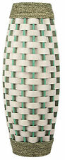 Very Large Floor Standing Rattan Vase 62cm Tall Wicker Vase Green & White