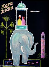 Agra India Airplane Elephant Vintage Travel Art Advertisement Poster