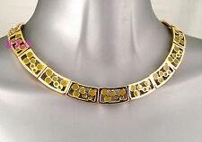 Designer 18k Gold Pltd Olive Green Enamel Cocktail Pharaoh Cleo Collar Necklace