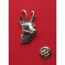 English Pewter GOATS HEAD, Chamois GAMS Pin Badge Tie Pin / Lapel Badge (A50)