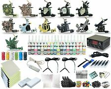 Complete Tattoo Kits Set 12 Coil Machine Guns Equipment Power Supply 54 Colors