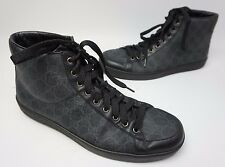 Gucci Brooklyn High Top Sneaker Black GG Print Leather Size 11.5 US/ 10.5 G