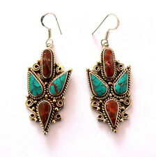 VINTAGE ANTIQUE HANDMADE EARRINGS NATURAL TIBETAN TURQUOISE,CORAL 22 GRAMS