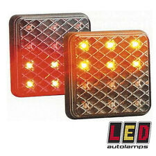 Pair of Slim BLACK EFFECT 81mm 12v  LED Tail Trailer Lights *3YR WARRANTY*