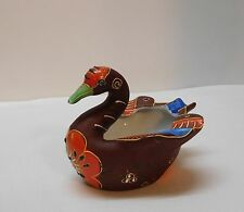 Swan Trinket Dish Ashtray Incense Flower with Raised Color Designs Hand Painted