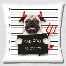"FUNNY FAWN PUG BAD DOG CRY DEVIL HORNS VALENTINE LOVE 16"" Pillow Cushion Cover"