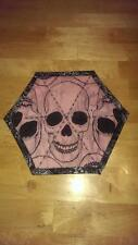 Skull and Crossbones Handmade Quilted Reversible Pink Mug Rug Brand New 8 x 9