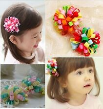 5pcs/lot Colored ribbon Sphere hair clips girl hairwear baby&kids hairpins