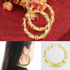 1 Pair Fashion Punk Gold Tone Bamboo Big Hoop Large Circle Earrings UF