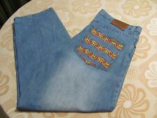 Mens COOGI Blue Jeans 40 x 32 Pocket Waves or Flames Baggy Loose Pants EUC