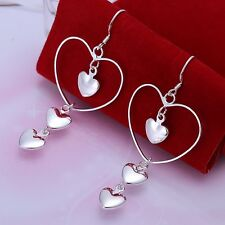 New Women 925 Sterling Silver Plated 3 Heart Drop Studs Dangle Earrings Jewelry