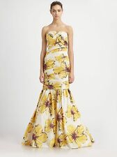 Monique Lhuillier Strapless Floral Gown Hibiscus Yellow - NWT Size 16 $698