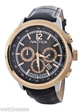 Nautica Men's N21024G Brown Dial Black Leather Band NCT 750 Classic Analog Watch