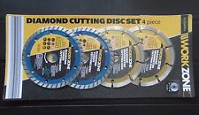 DIAMOND CUTTING DISC SET 4 PIECE  WET / DRY CUTTING 125mm ANGLE GRINDER WORKZONE