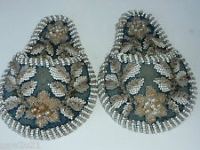 ANTIQUE PAIR EMBROIDERY BEAD WORK POCKET WATCH HOLDERS WALL POCKETS BEADWORK