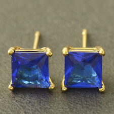 Womens korean  Vintage  White Gold Filled aquamarine Square cute Stud Earrings