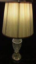 Two Vntg Pressed Glass~Pineapple~w/Goldtone Base -Table Lamps