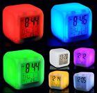 7 LED Farbwechsel Uhr Würfelwecker Alarm Digitaler LCD Kalender Thermometer