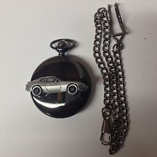 Porsche 944 ref190 Pewter Effect Car on a polished Black Case Pocket Watch