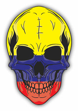 "Skull Flag Colombia Car Bumper Sticker 4"" x 5"""