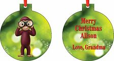 Personalized Curious George Ornament ( Add Any Message You Want)