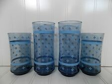 Lot of 4 Vintage Libbey Drinking Glasses Tumblers Clear Blue with Floral Pattern