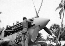 WWII B&W Photo P-40 Warhawk Engine Pacific  WW2 /5074
