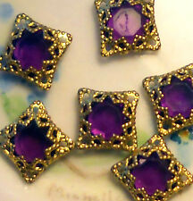 #752 Vintage Filigree Findings Charms Pendants Gold Tone Old Purple Victorian