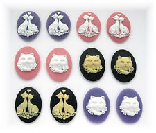 12 Mixed Color CATS  and LOVE CATS Kitty Cat Kitten 40mm x 30mm CAMEOS LOT