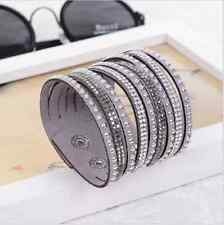 Bracelet Neuf Multi Rangs Strass Gris Pour Femme Fille Fashion Bangle Wrap Mode