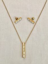 MICHAEL KORS Gold Tone Baguette Bar Necklace & Stud Earrings Set $160.00