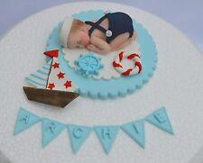 Commestibile Personalizzato SAILOR Baby Battesimo / 1st COMPLEANNO CAKE TOPPER