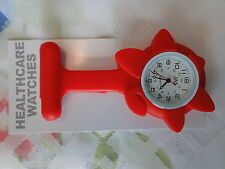 NEW FIRST HAND HEALTHCARE NURSE THERAPIST RED FLOWER SILICONE WATCH