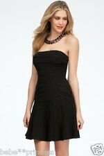 NWT bebe top black strapless flare pleat bottom textured dress sexy S small
