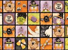 Fat Quarter Boppity Boo Squares Halloween Cotton Quilting Fabric- Red Rooster
