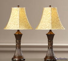 Table Lamp Set Of 2 Traditional Vintage Lamp Pair Nightstand Shade Bedroom Light