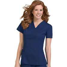Comfort Collection Women's Large Paige V-Neck Princess Seam Scrub Top 4178 Navy
