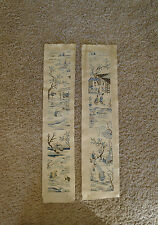 Extremely fine pair of old Chinese forbidden stitch embroidered sleevebands