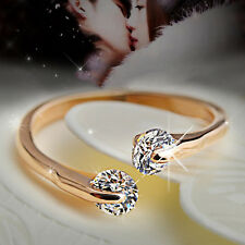 Simple Korean Fashion Style Opening 2Rhinestone Rose Gold Crystal Ring Gifts