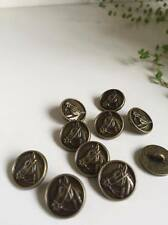 10 Pcs Sewing Shank Buttons Round Antique Bronze Horse Head Carved 15mm Dia 6