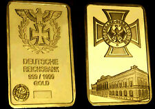 1945 Nazi Germany WWII Munich Führer Headquaters 1Oz Eagle Cross Gold Sign/Medal