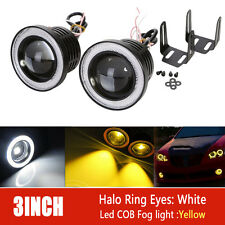 2X 3inch 3200Lm Round White Angel Eye DRL Yellow LED Projector Fog Light 4X4 ATV