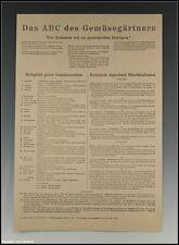 MANIFESTO L'ABC del giardiniere ortaggi per 1946