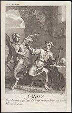 Saint Marc Mark - Memento Mori Diable Devil - gravure 18ème siècle - Orthodoxie