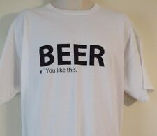 "Beer ""You Like This"" Tee Shirt, White, Men's XL, Facebook Like Icon"