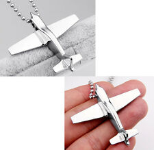 Men Women's Gift Silver Stainless Steel Airplane Pendant Necklace Chain Jewelry