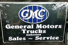 "18"" X 12"" GMC GENERAL MOTORS TRUCKS AUTHORIZED SALES SERVICE METAL SIGN NEW"