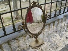A Stunning Vintage French Solid Brass Swivel Dressing Table Mirror