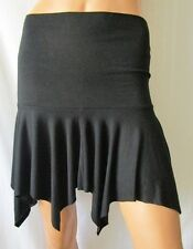 MINI GONNA SKIRT TG.S in misto viscosa lana, lunghezza asimmetrica colore nero